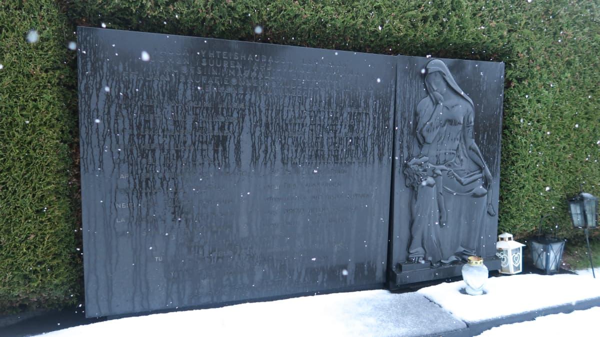 Iittalan junaonnettomuuden muistomerkki Malmin hautausmaalla