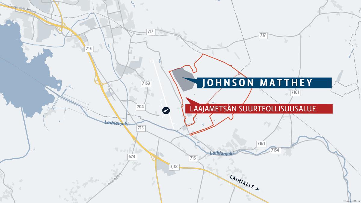 Johnson Mattheyn tonttivaraus Vaasassa.