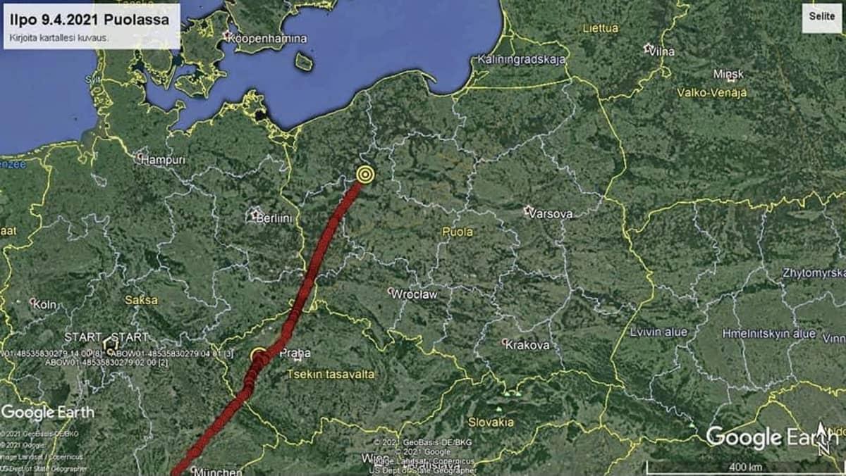 Ilpon matkareitti merkittyvä punaisella viivalla karttaan.