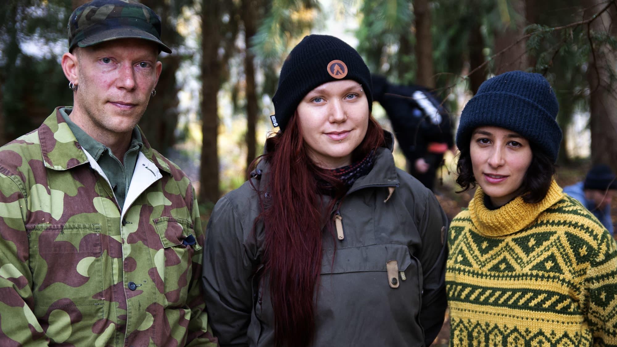 Eräopaskoulutettavat Pekka MIkkonen., Henna Metz ja Ana Botero