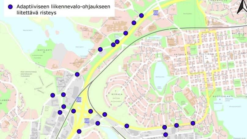 Adaptiivisia liikennevaloja merkittynä kartalle