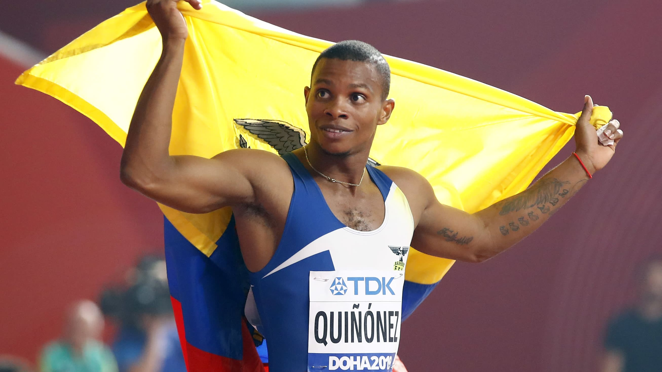 Alex Quinonez saavutti MM-pronssia miesten 200 metrillä Qatarin Dohassa.