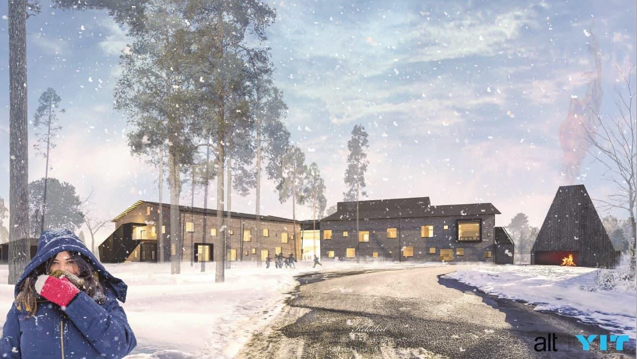 Piirretty kuva ruskeasta kaksikerroksisesta koulurakennuksesta talvella lumisateessa, valot ikkunoissa