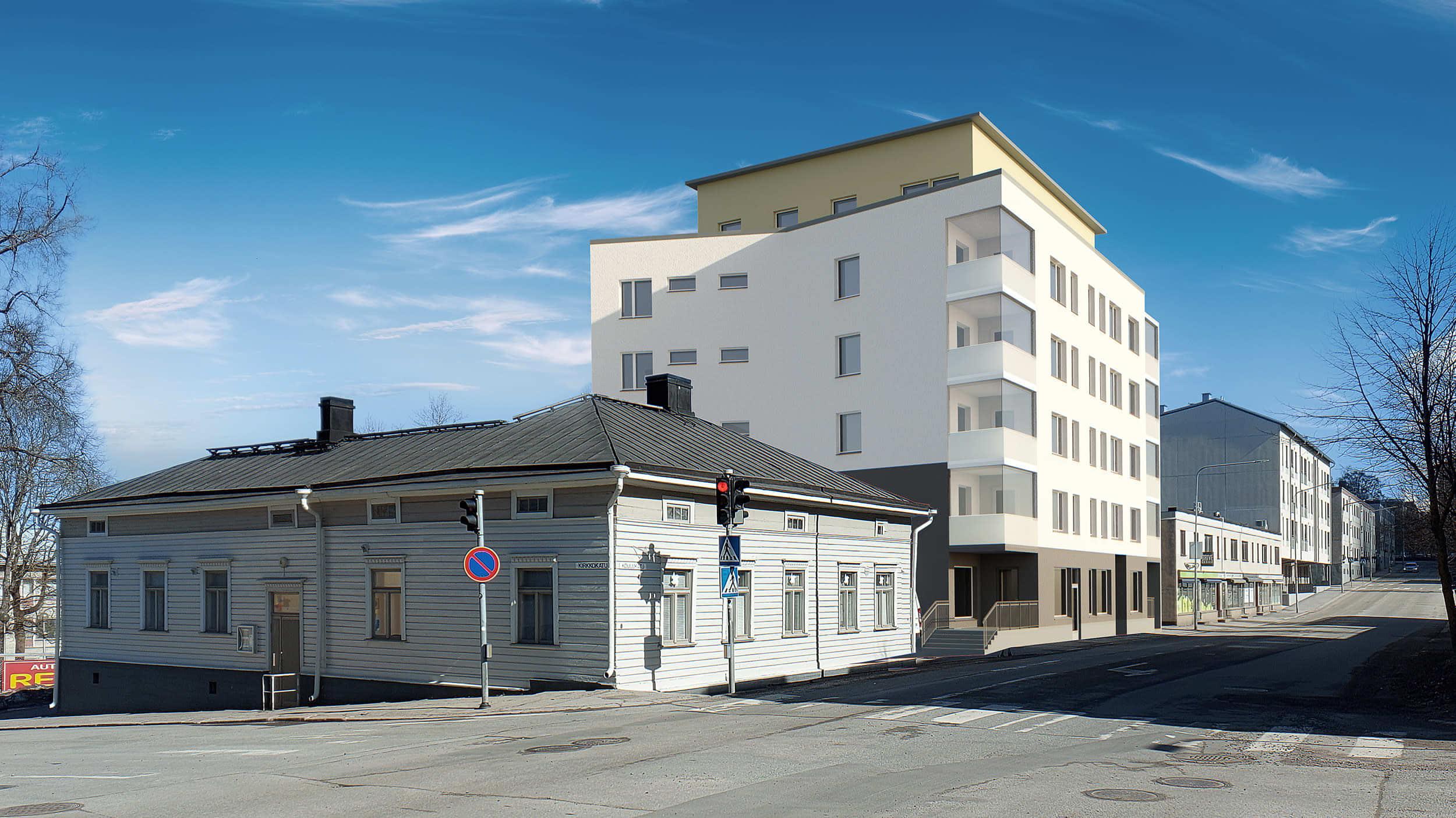 Havainnekuva, jossa edessä matala puurakennus ja takana 6-kerroksinen asuin-liiketalo.