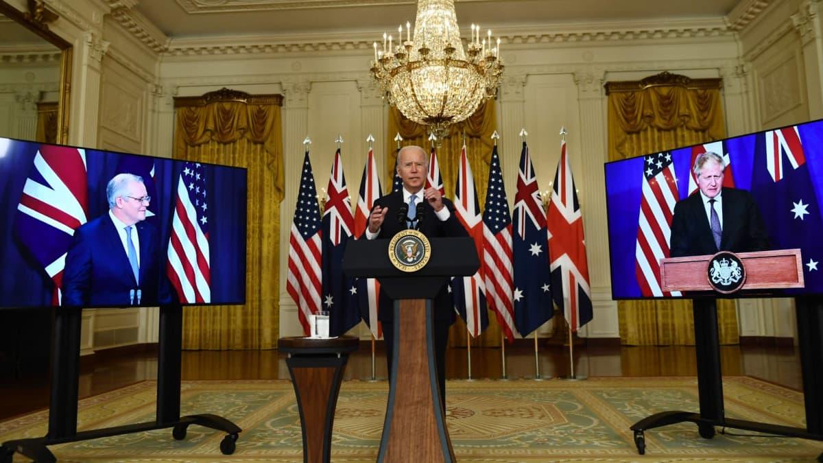 Yhdysvaltain presidentti Joe Biden kertoi Yhdysvaltojen strategisesta yhteistyöstä Australian ja Britannian kanssa indopasifisella merialueella