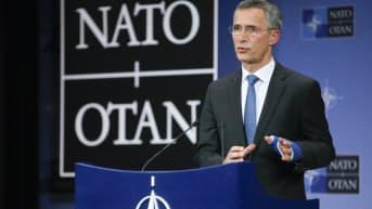 Naton pääsihteeri Jens Stoltenberg puhuu