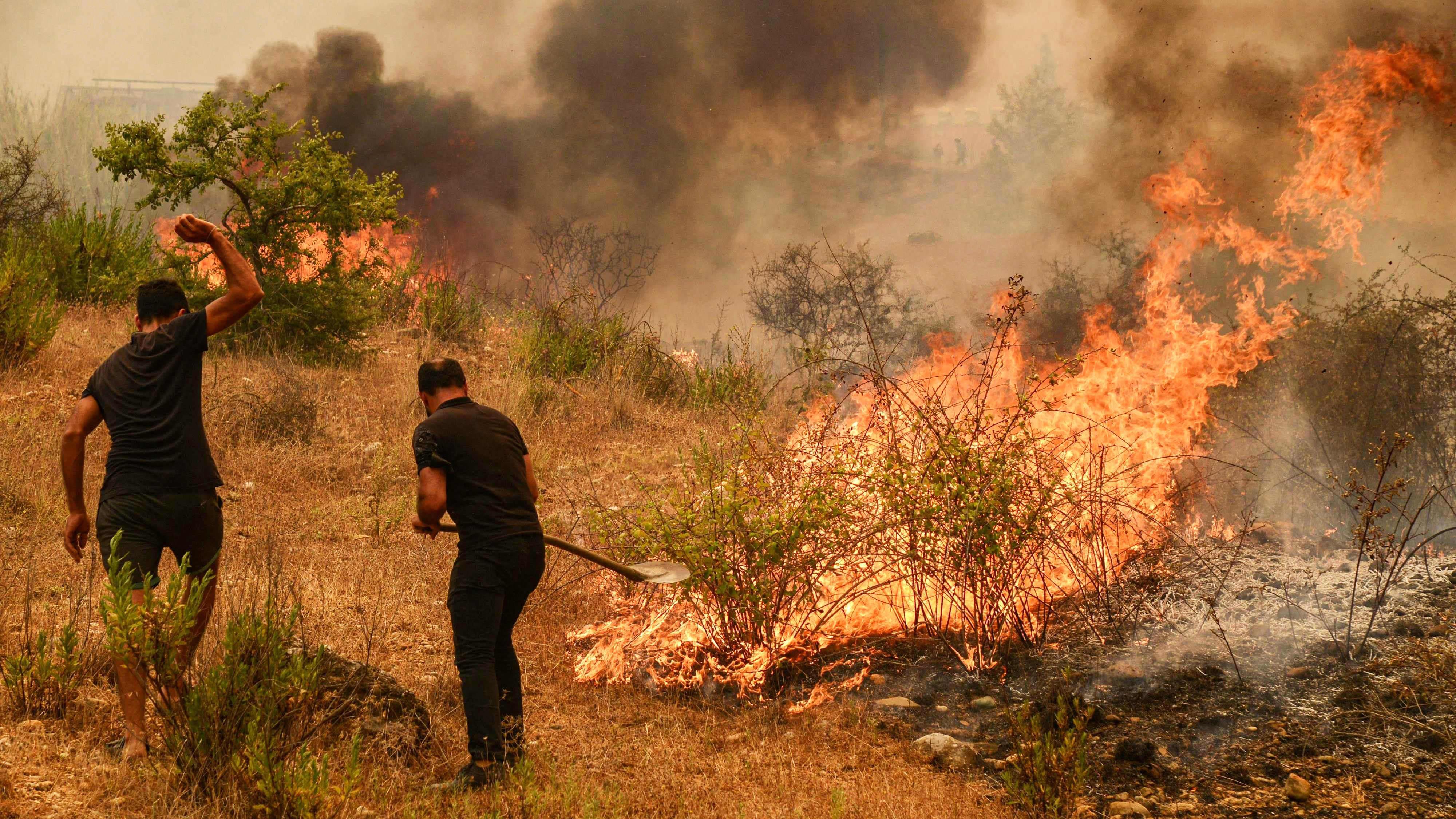 Turkin Marmariksessa riehuva metsäpalo uhkaa levitä asuinalueelle