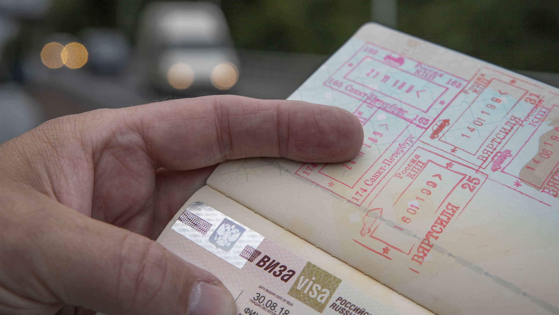 Venäjän viisumi ja leimoja passissa.