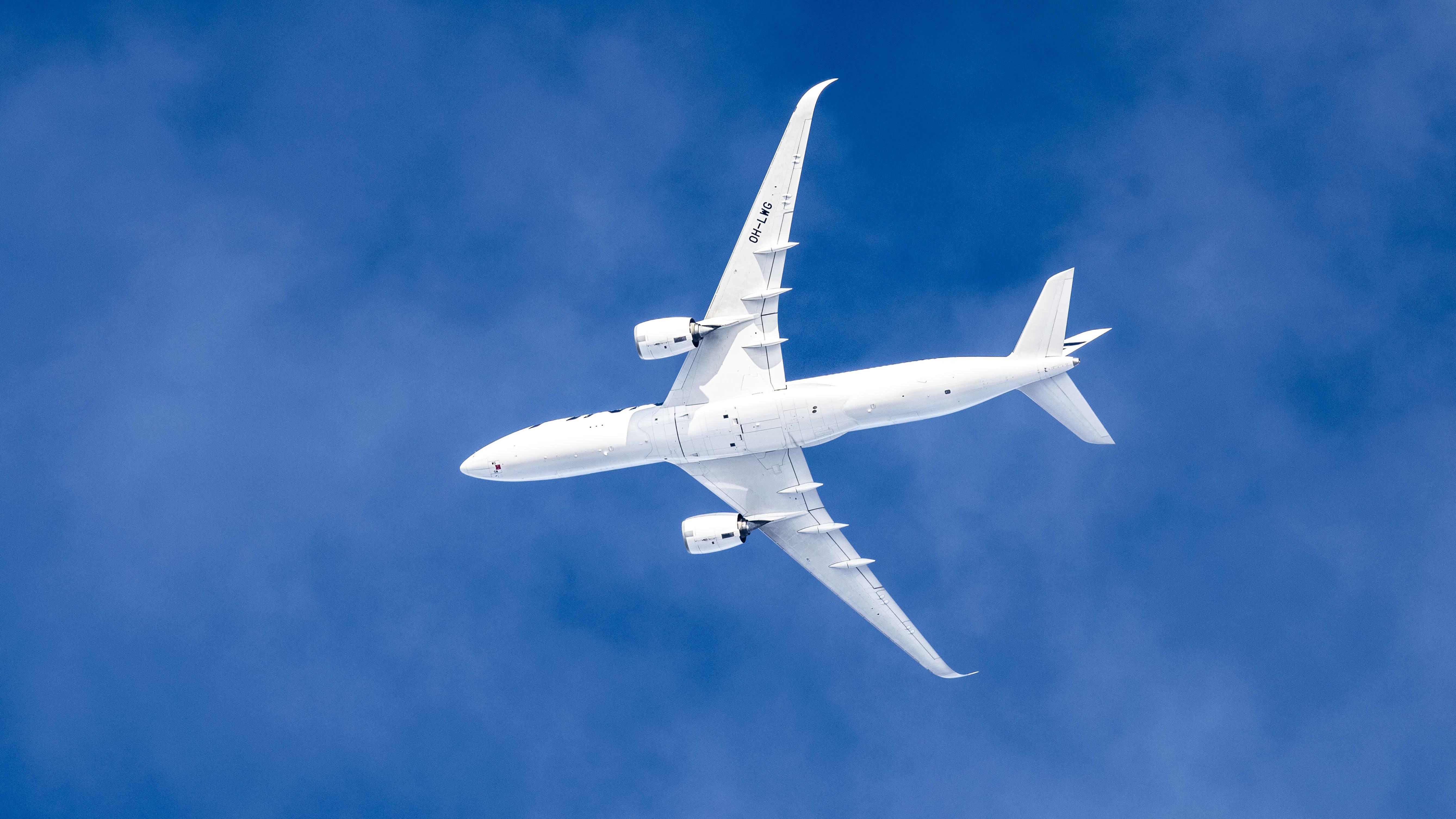 Finnairin lentokone taivaalla.