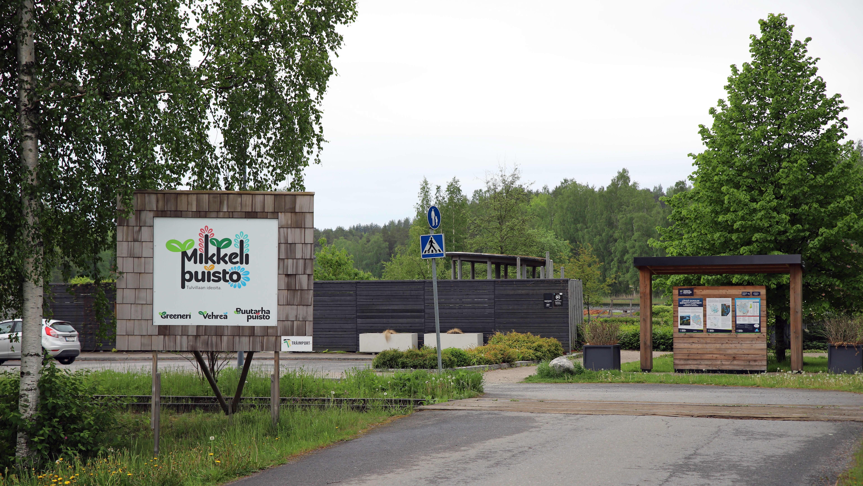 Mikkelipuiston sisäänkäynti Mikkelissä.