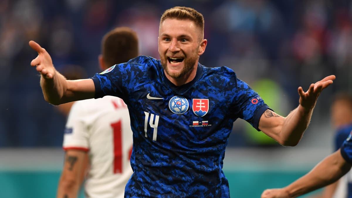 Slovakia nousee jälleen johtoon - Milan Skriniar pamauttaa pallon takakulmaan