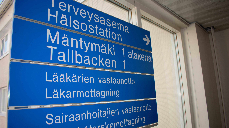 Turun Mäntymäen terveysaseman kylttejä