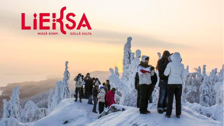 Talvinen kuva on otettu Kolin laella. Kuvassa Lieksan uusi logo ja iskulause: Missä korpi, siellä kulta.