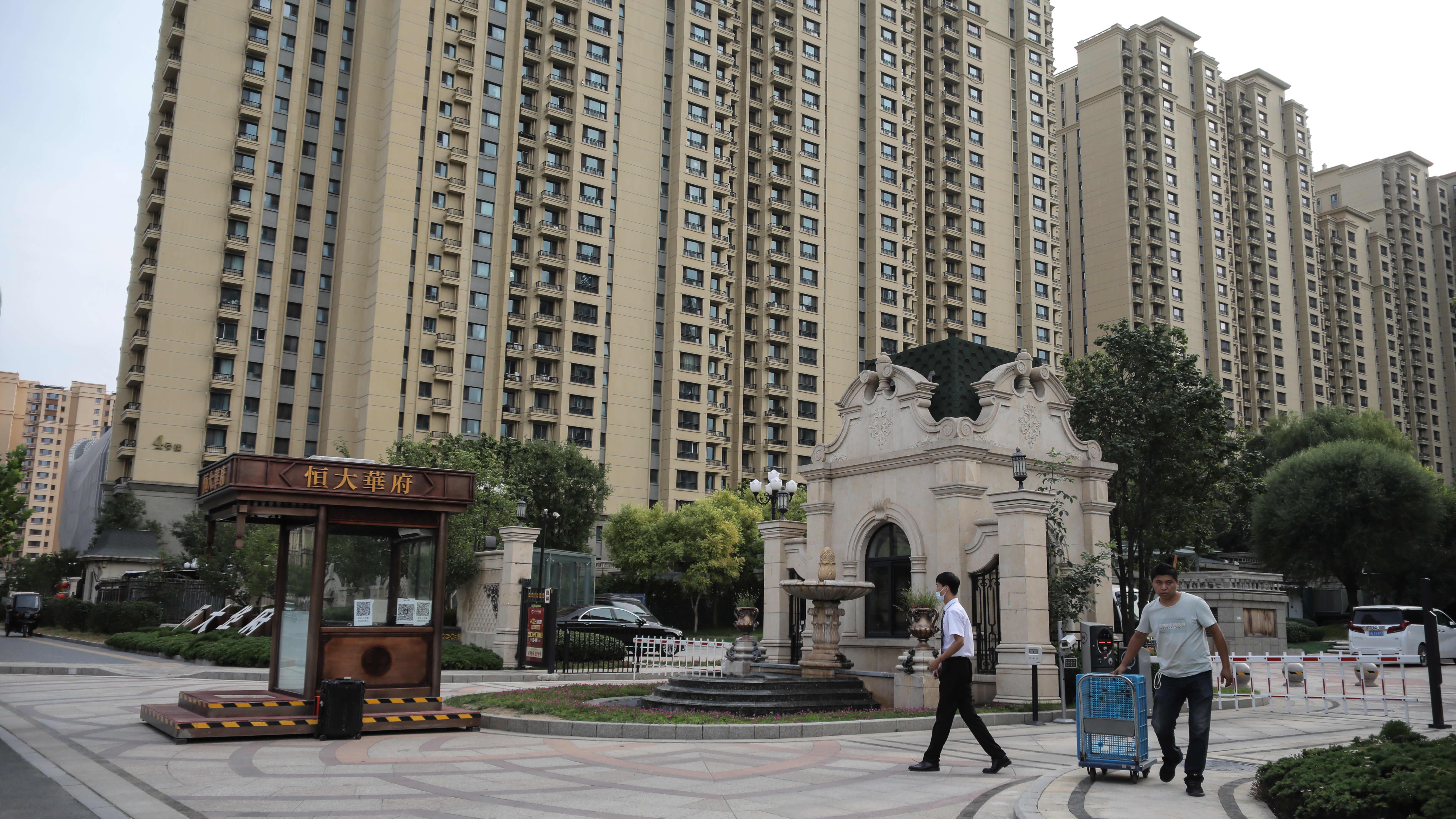 Evergranden kerrostalokompleksi Pekingissä Kiinassa 19. syyskuuta.