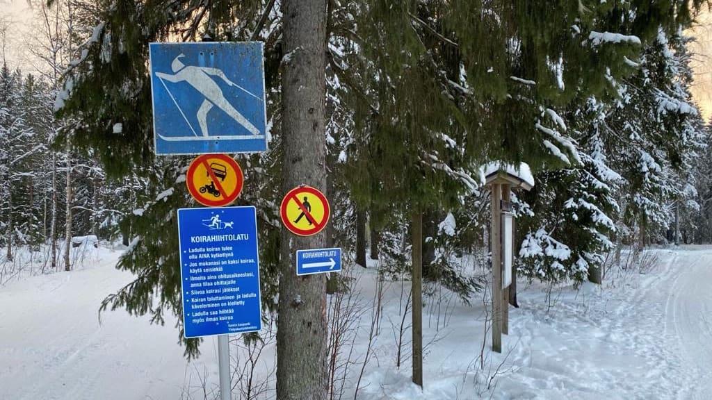 Takajärven Jussapäkin kuntopolun alkuun on laitettu koirahiihtolatu -kyltti ja kiertosuuntakyltti.