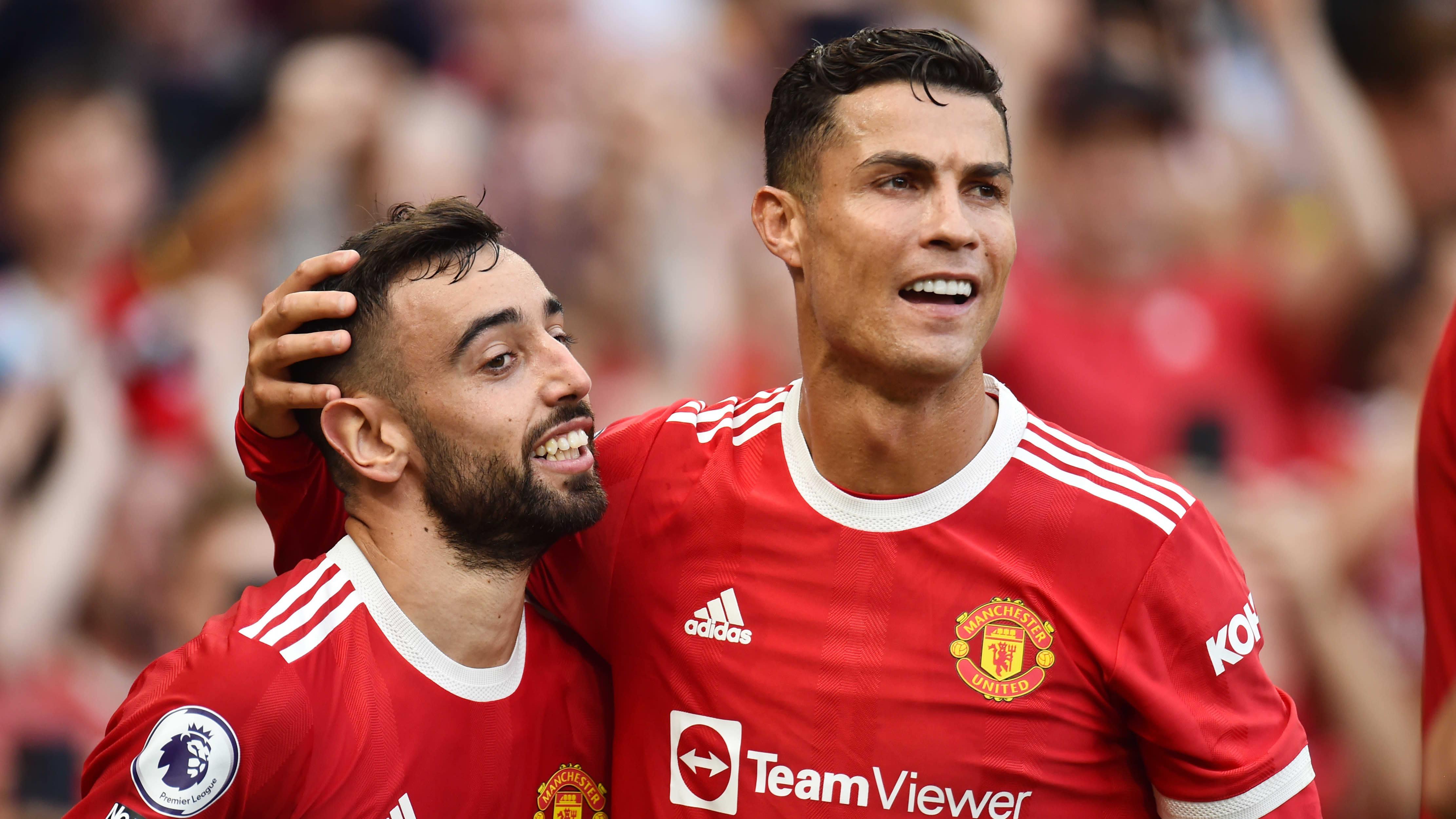 Unitedin Bruno Fernandes ja uusi seurakaveri Cristiano Ronaldo