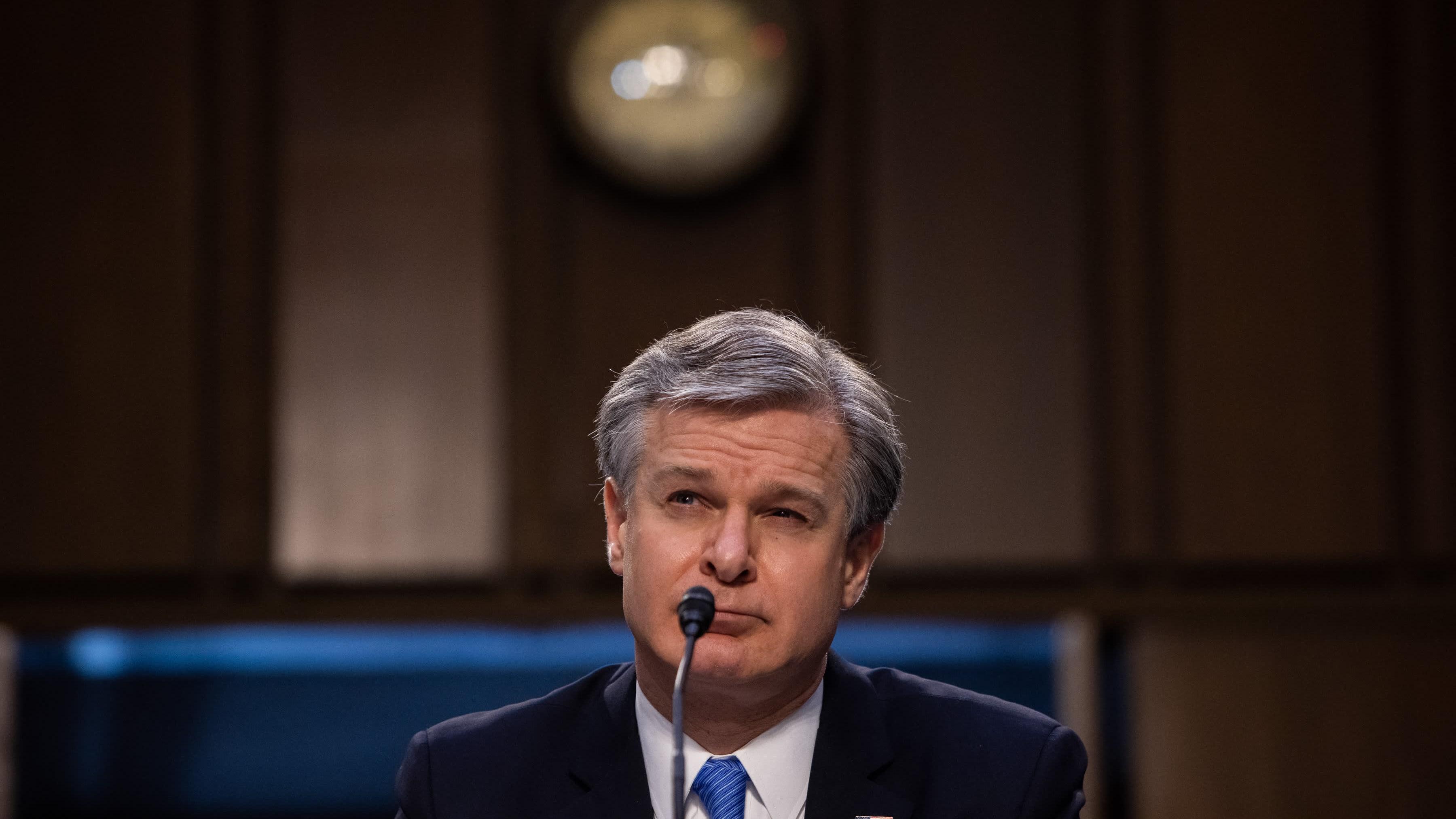 Yhdysvaltain liittovaltion poliisin FBI:n johtaja Christopher Wray senaatin oikeuskomitean kuulemisessa.