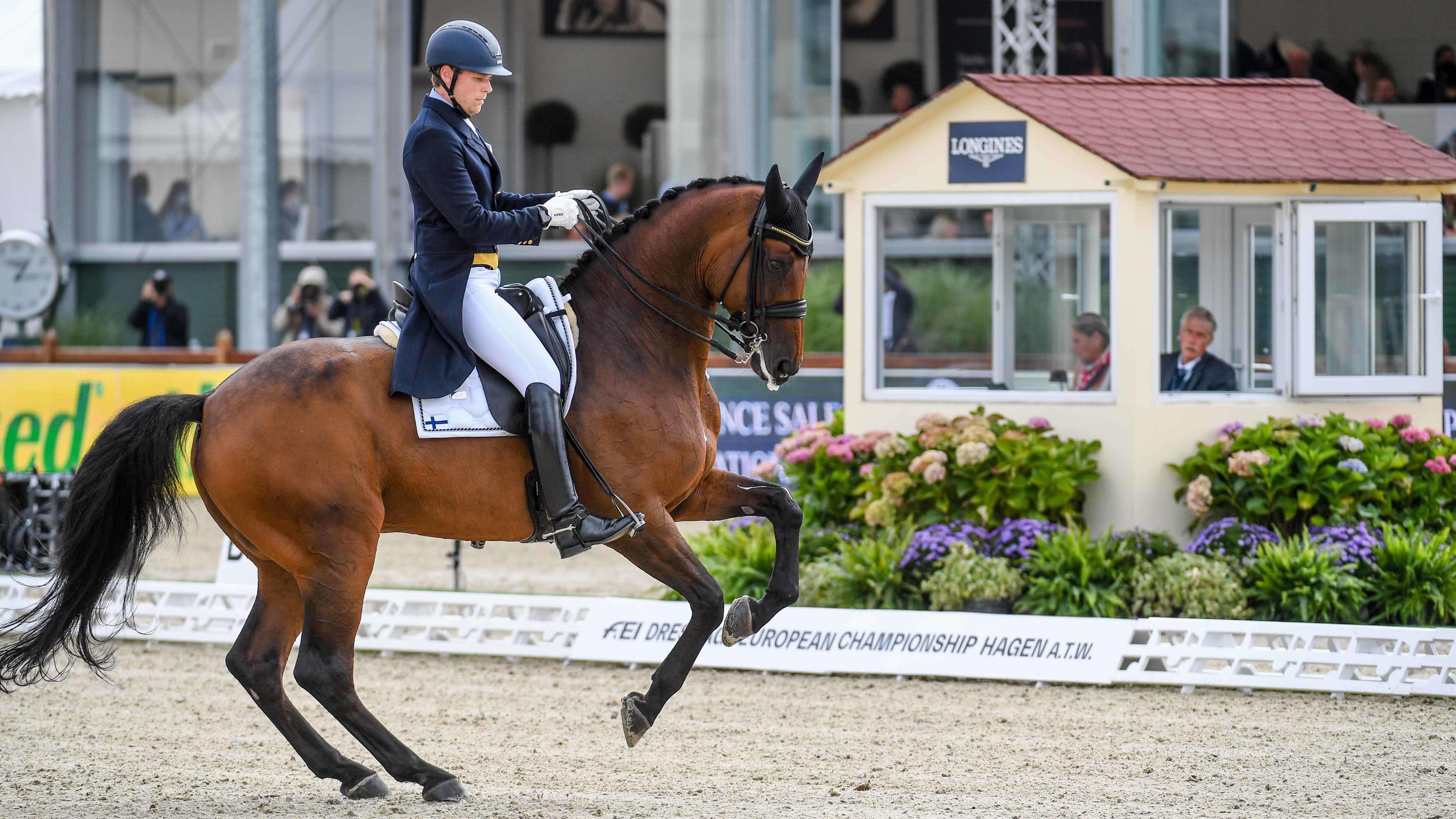 henri Ruoste hevosensa Konstestro Db:n kanssa EM-kisojen finaalissa.