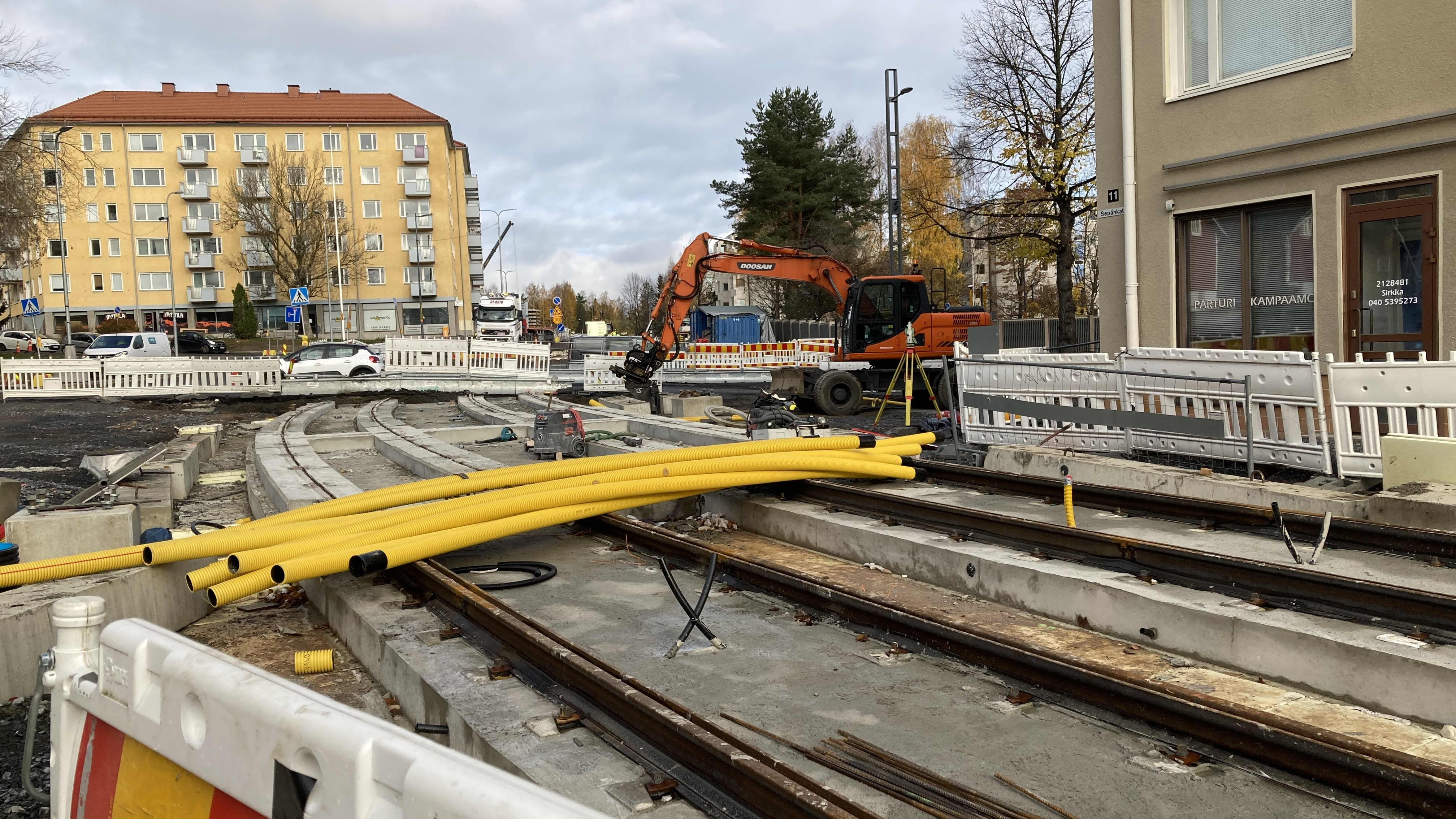 Tampereen Sepäkadun raitiotietyöt.