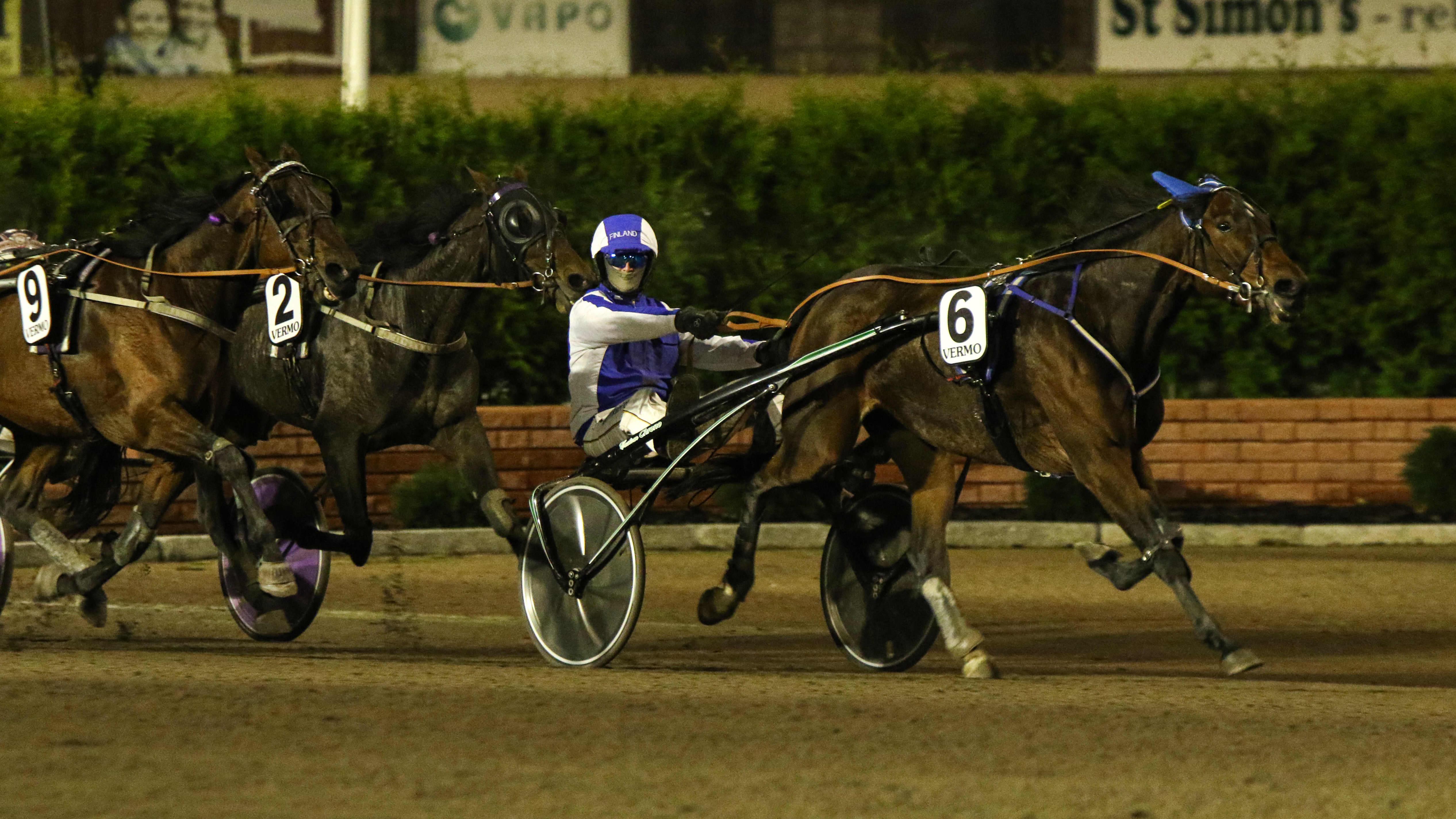 Riku M Lindgren ohjastaa hevosta.