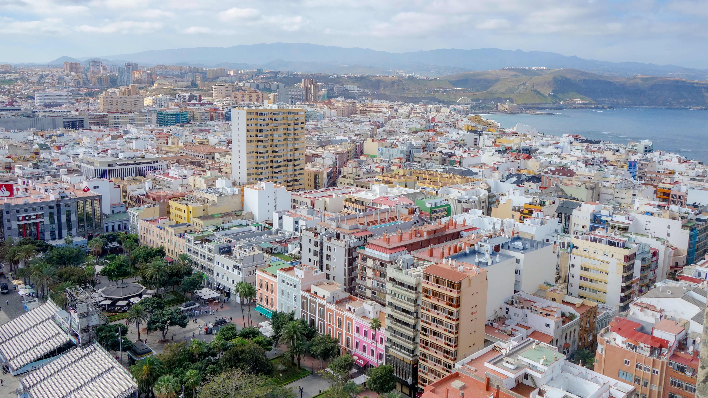 Ilmakuva Las Palmasista Gran Canarialla.
