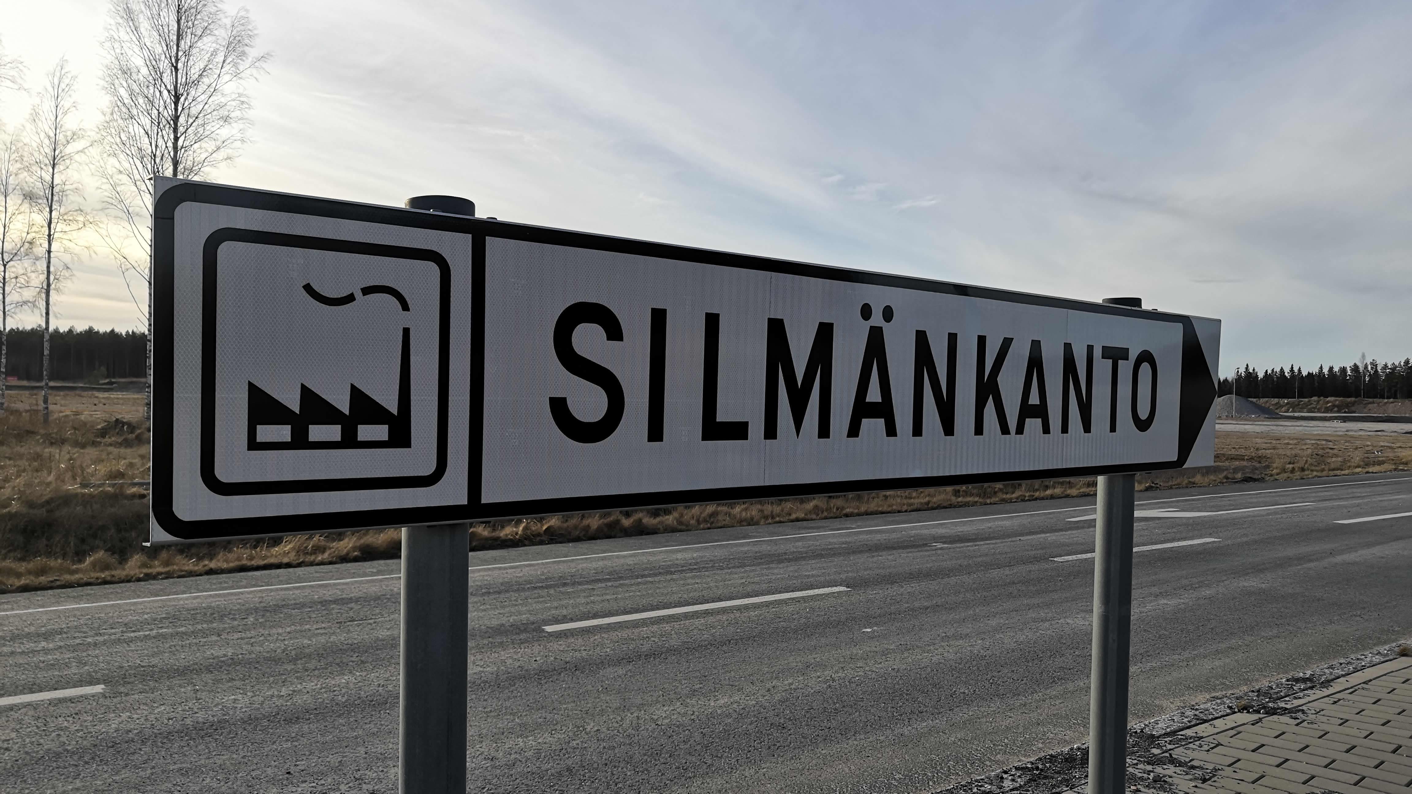 Liikennemerkki Silmänkannon teollisuusalueelle.