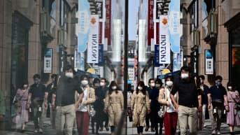 Ihmisiä Tokion Ginzassa.