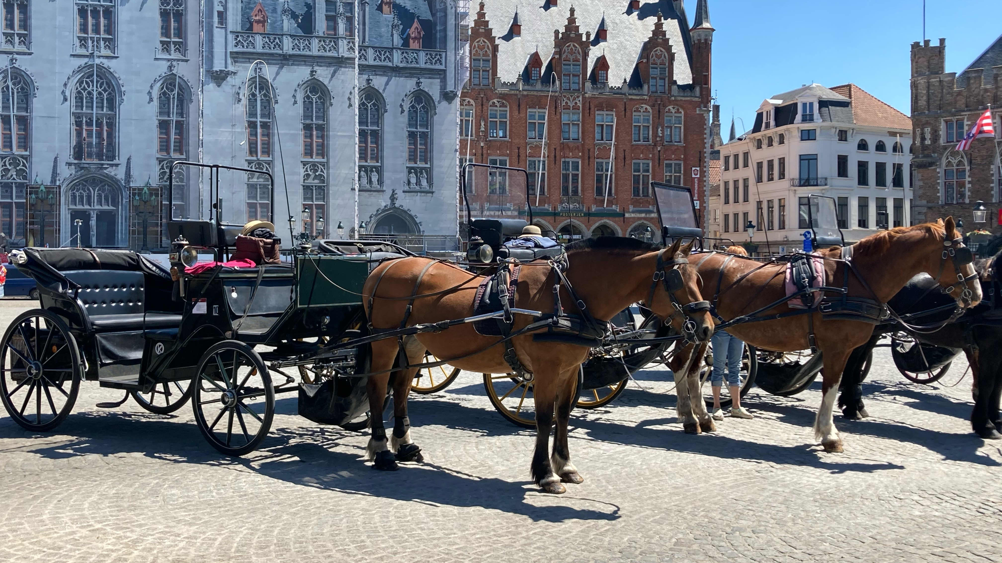 Vossikkakuskit odottelevat turhaan asiakkaita Markt-aukiolla Brysselissä.
