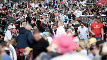 Yleisö seuraa Kuninkuusraveja Seinäjoella avauspäivänä.