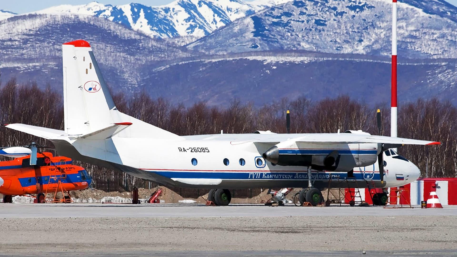 An-26 tyyppinen kone kuvattuna Petropavlovsk-Kamtšatskin lentoasemalla