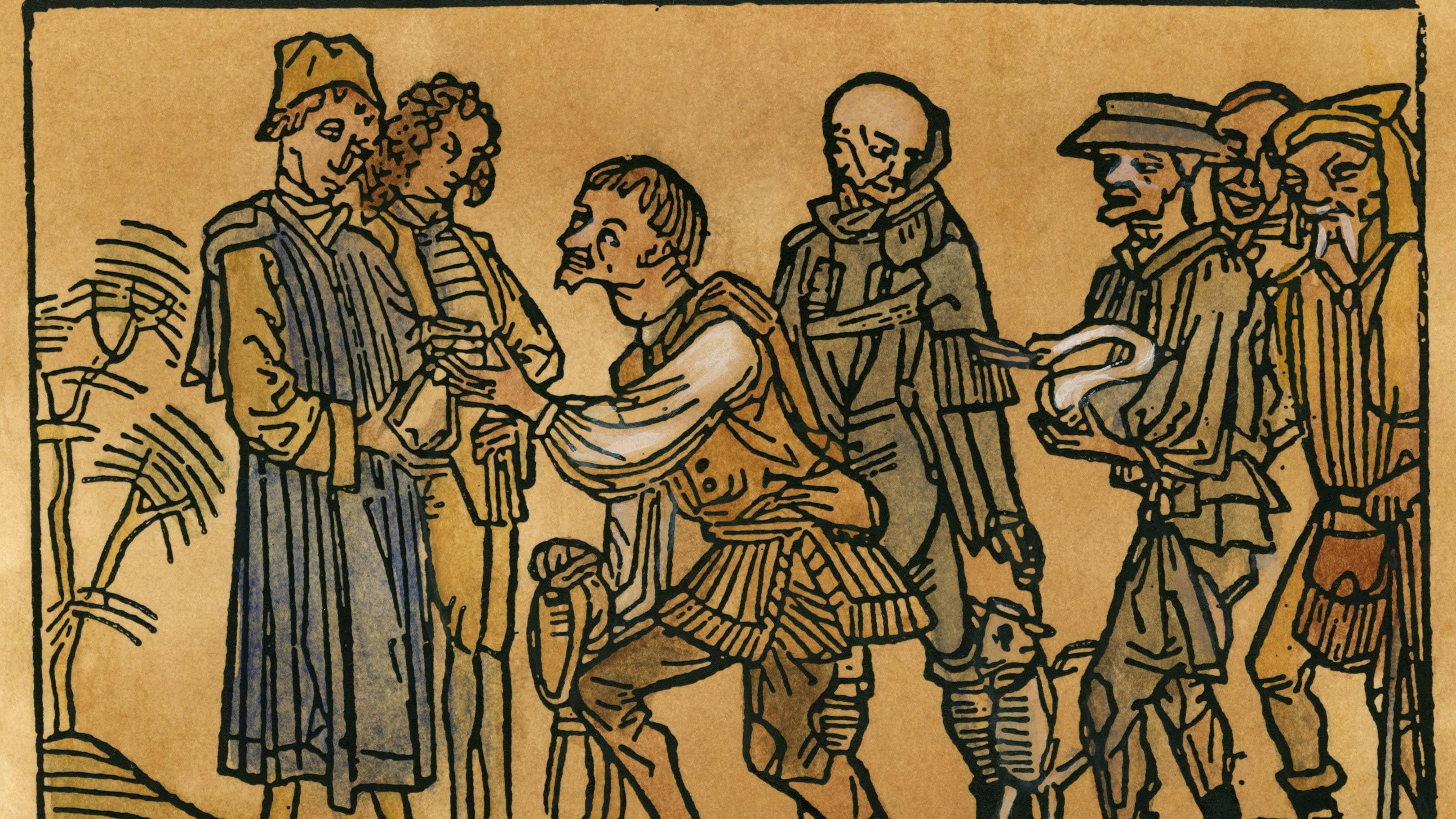 Puukaiveruksessa 1400-luvulta talonpojat maksavat veroja.