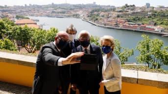 Charles Michel, Ursula von der Leyen,  Antonio Costa ja David Sassoli.