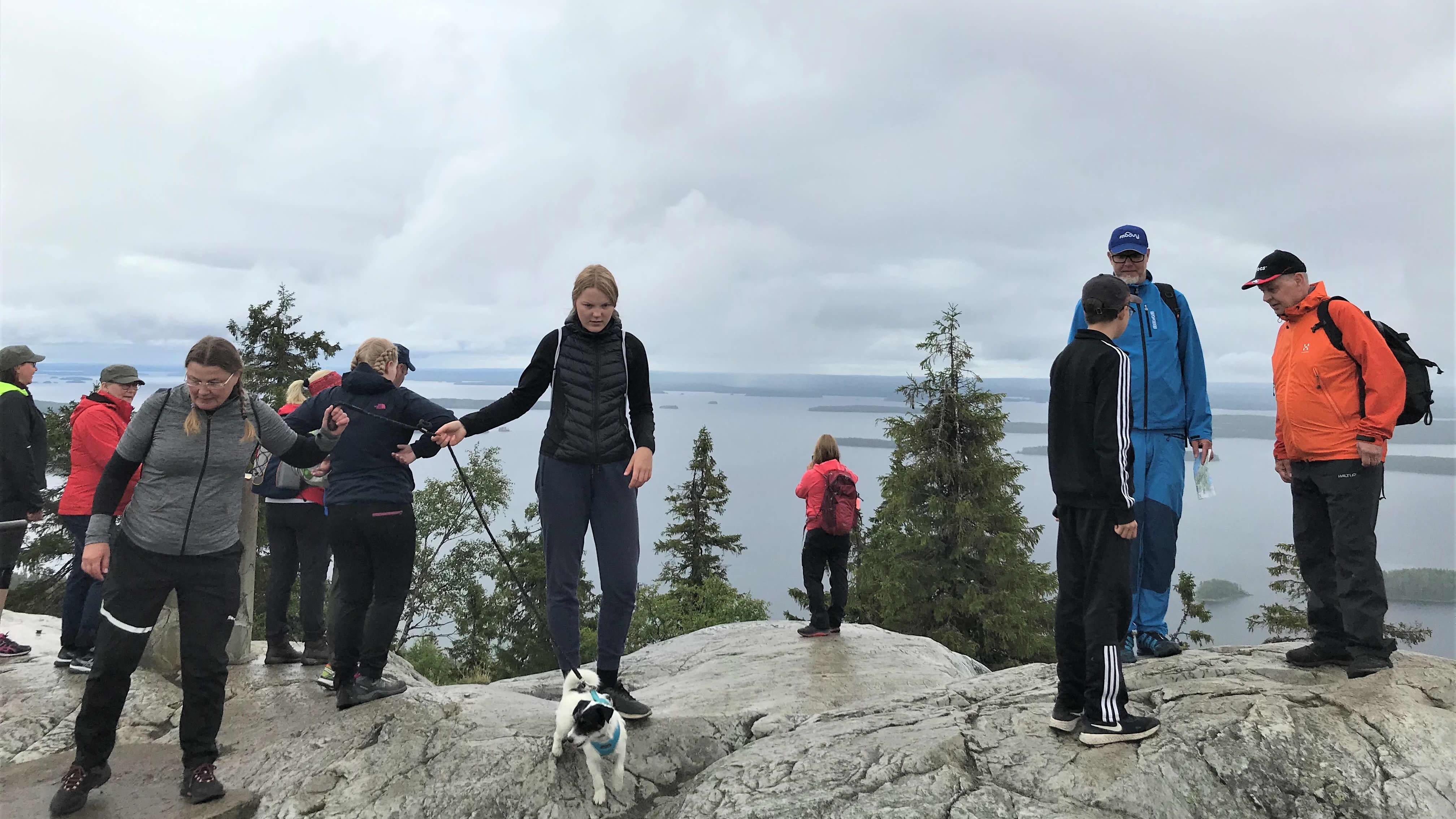 Lomailijat käyvät Ukko-Kolin huipulla ihastelemassa maisemia ja ottamassa valokuvia.