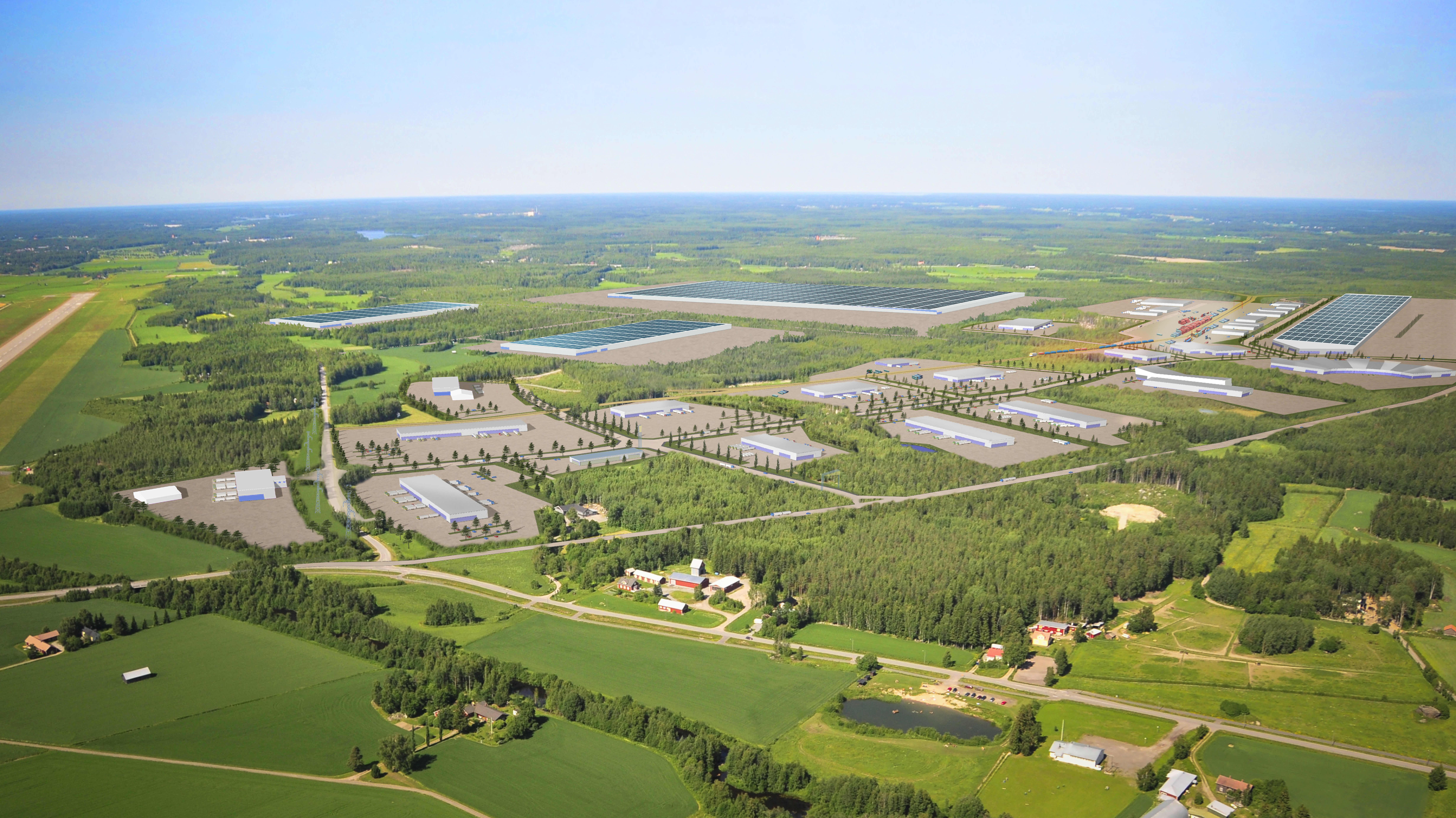 Skiss över ett möjligt batterifabriksområde på Långskogens industriområde i Vasa.