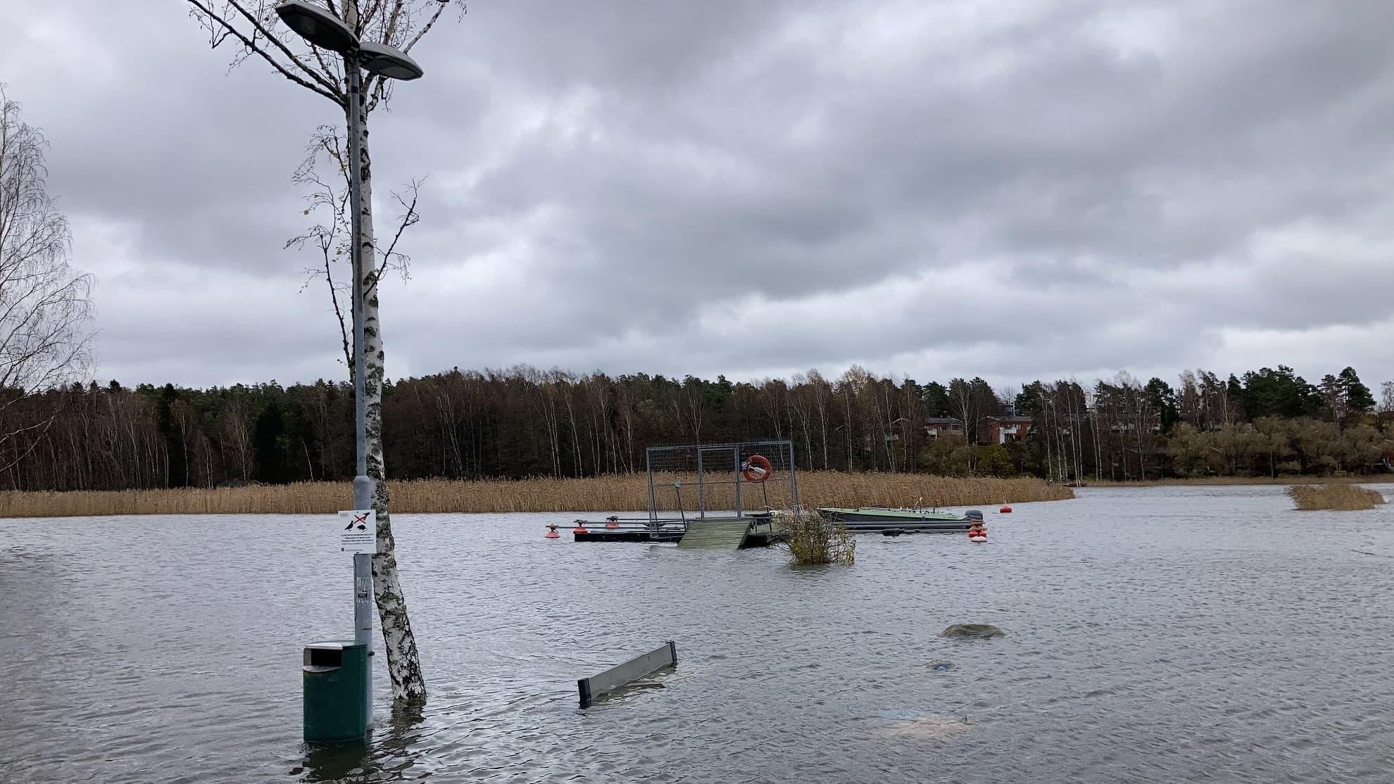 Merivesi noussu korkealle Vartiokylässä, lähes puistonpenkin selkänoja peittyy.