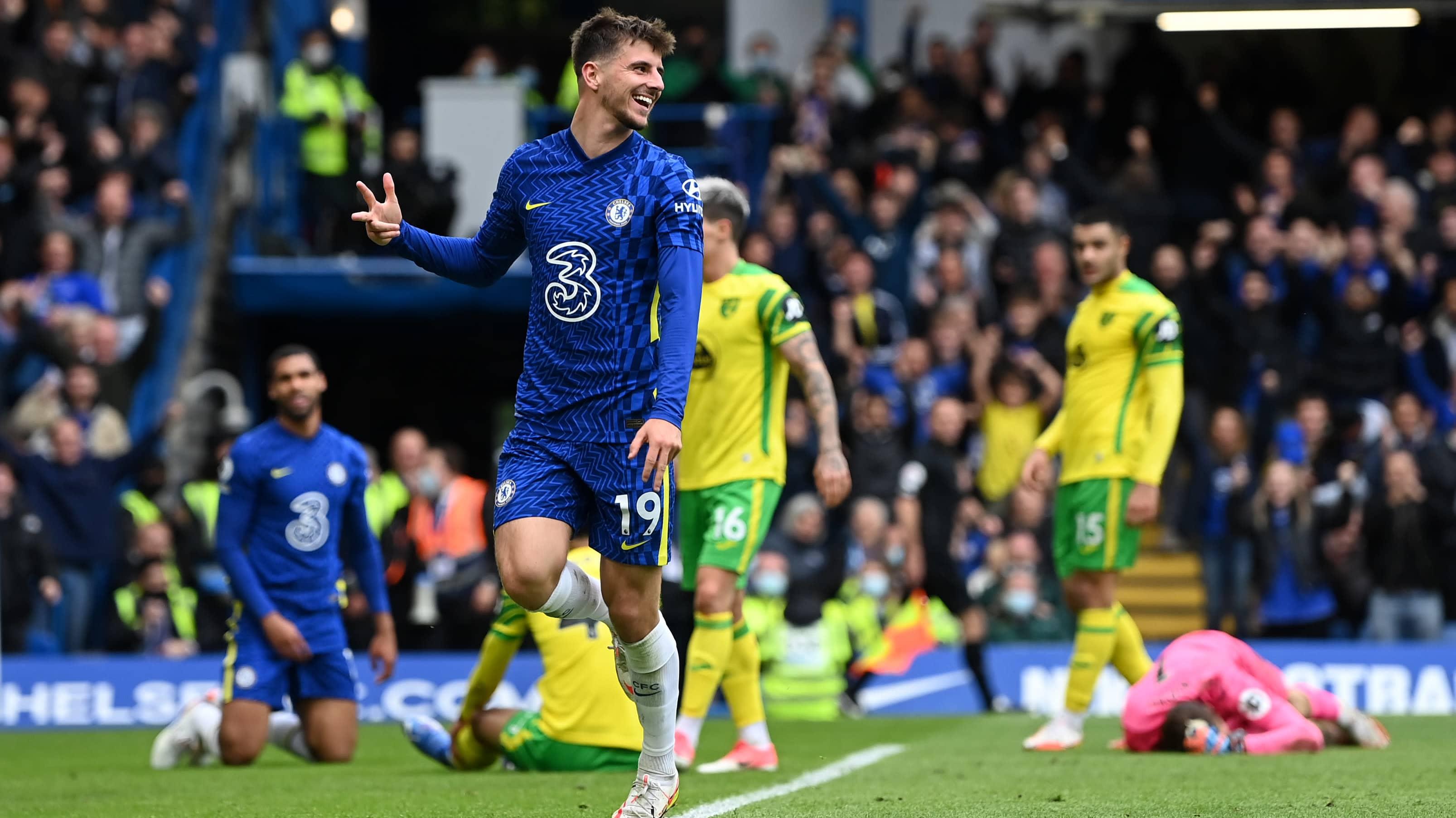 Mason Mount juhlii maalia Norwichin verkkoon.