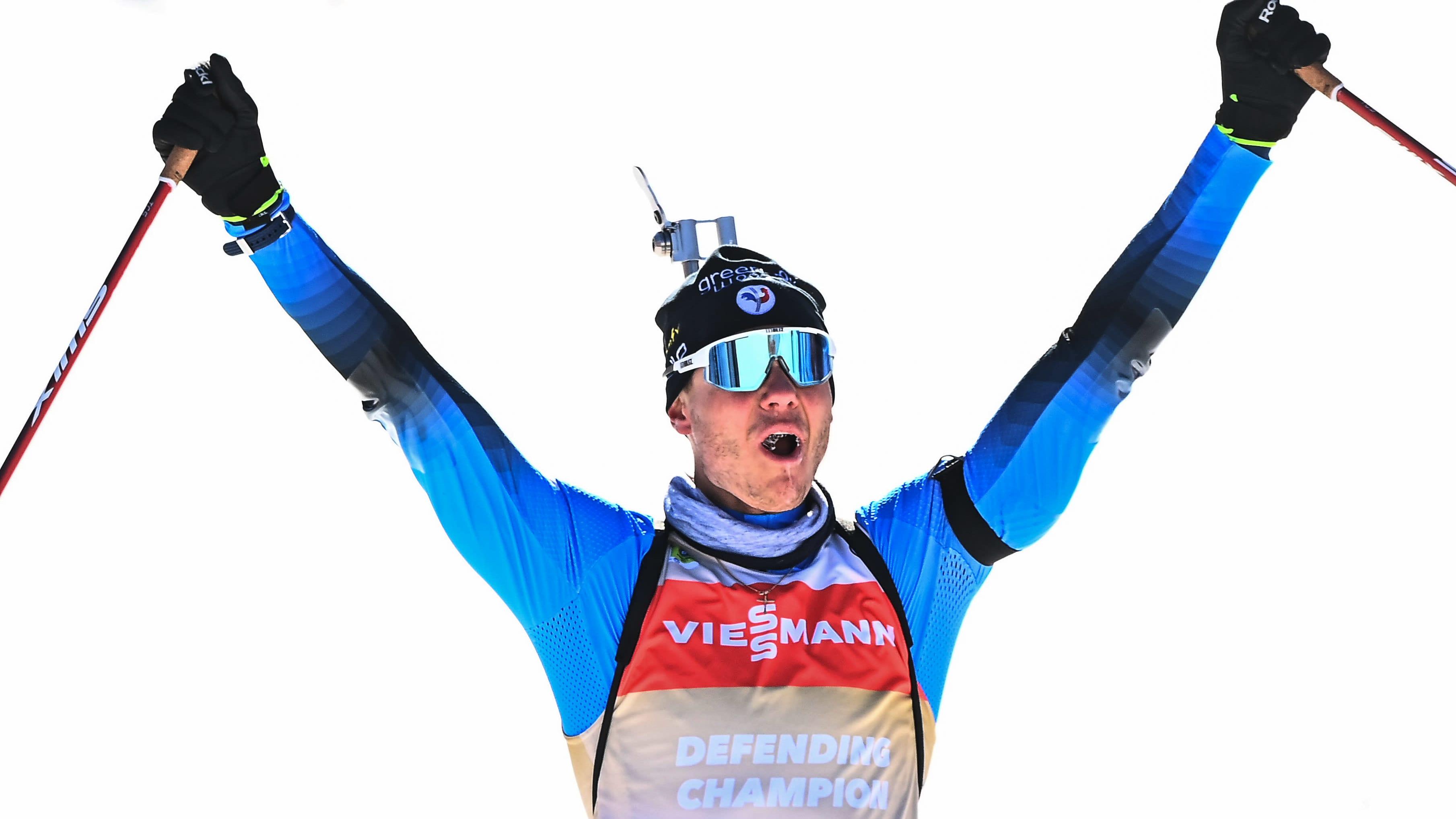 Emelien Jacquelin voitti takaa-ajon maailmanmestaruuden Pokljukassa, Sloveniassa 2021.