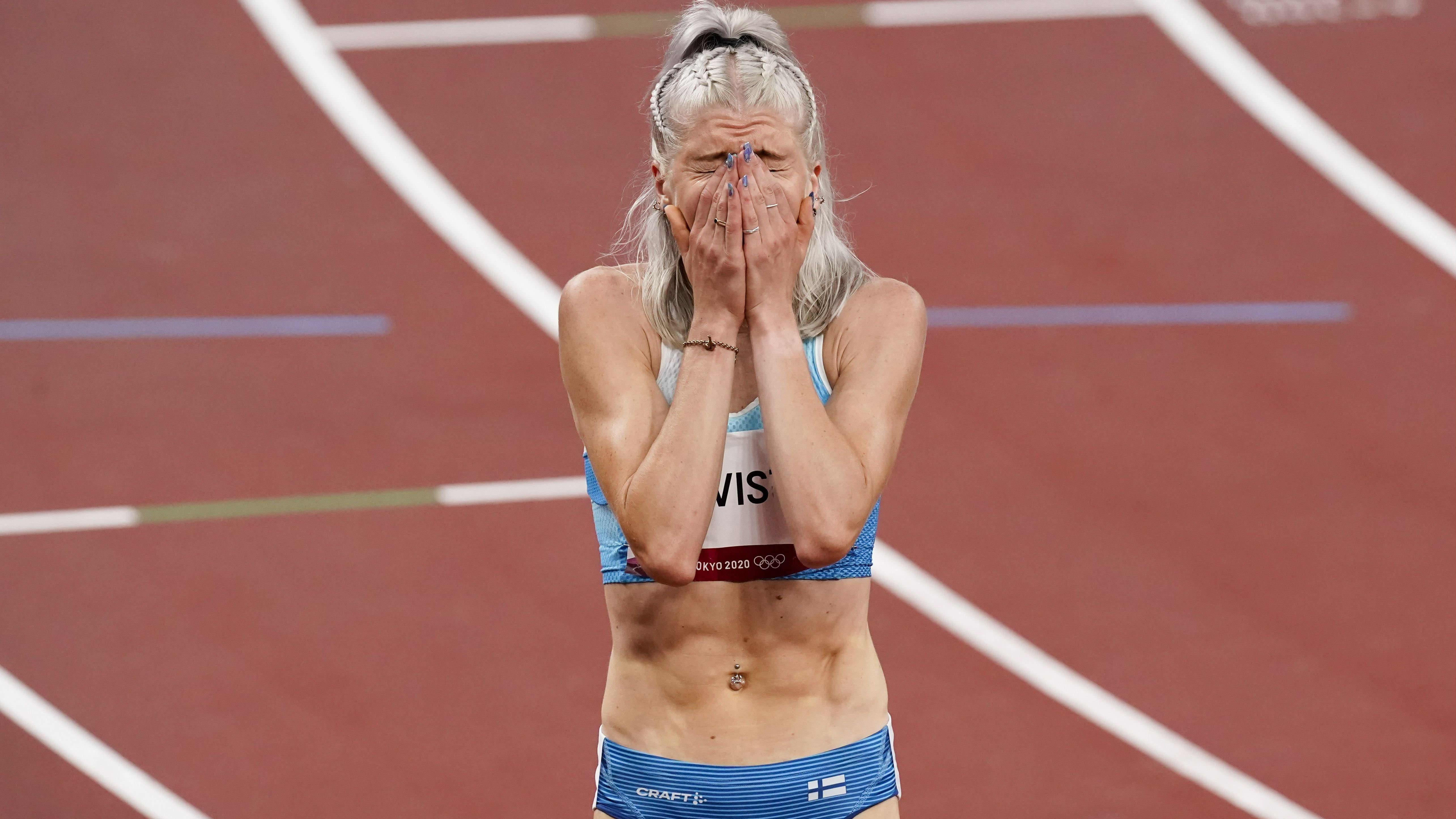 Sara Kuivisto 800 metrin välierien jälkeen.