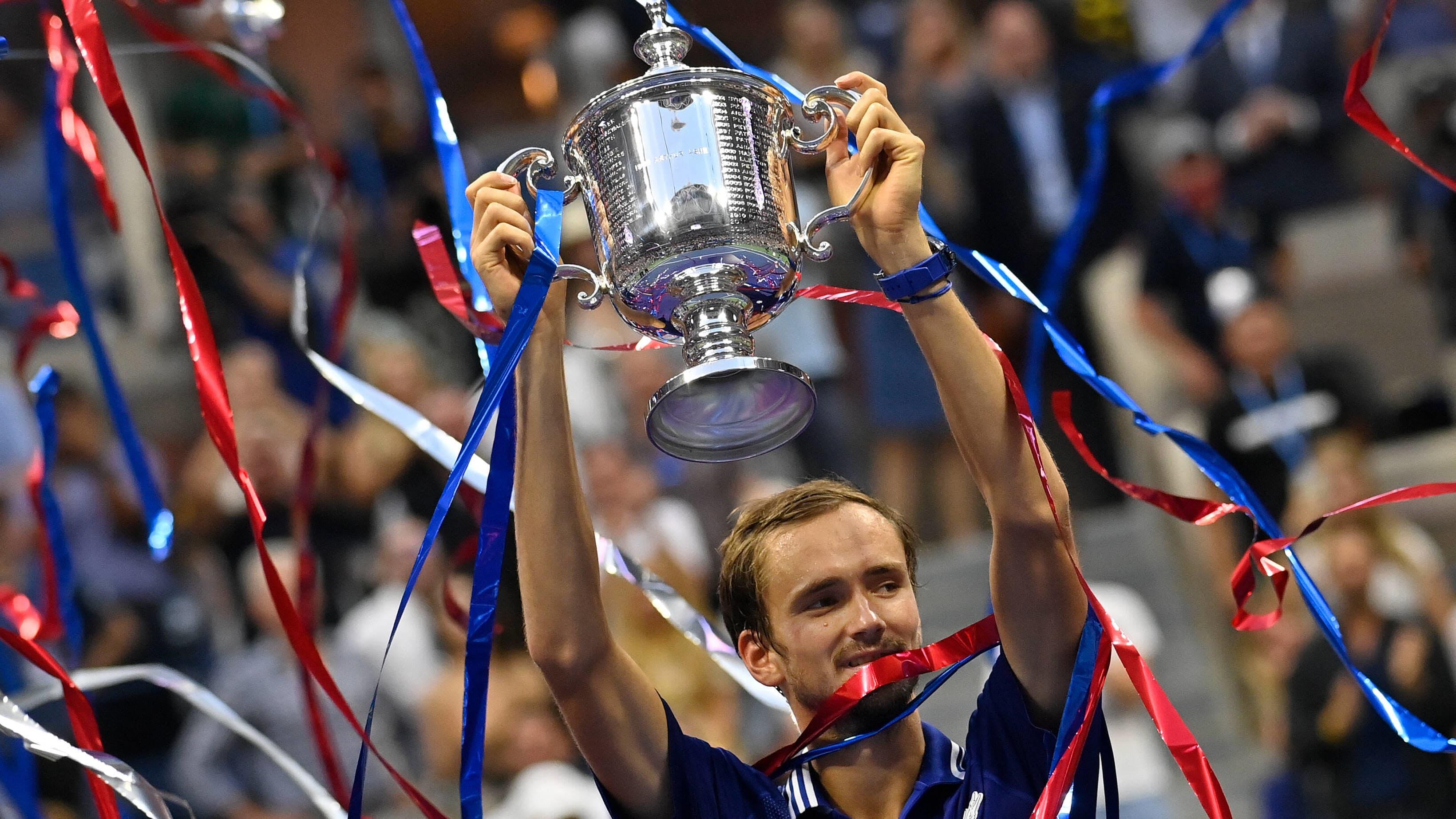 Daniil Medvedev juhlii US Openin voittoa.
