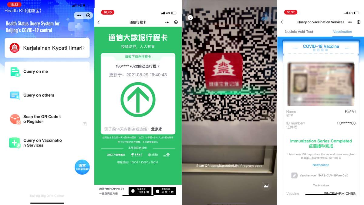 Kuvakaappaus Kiinan koronapassisovelluksesta