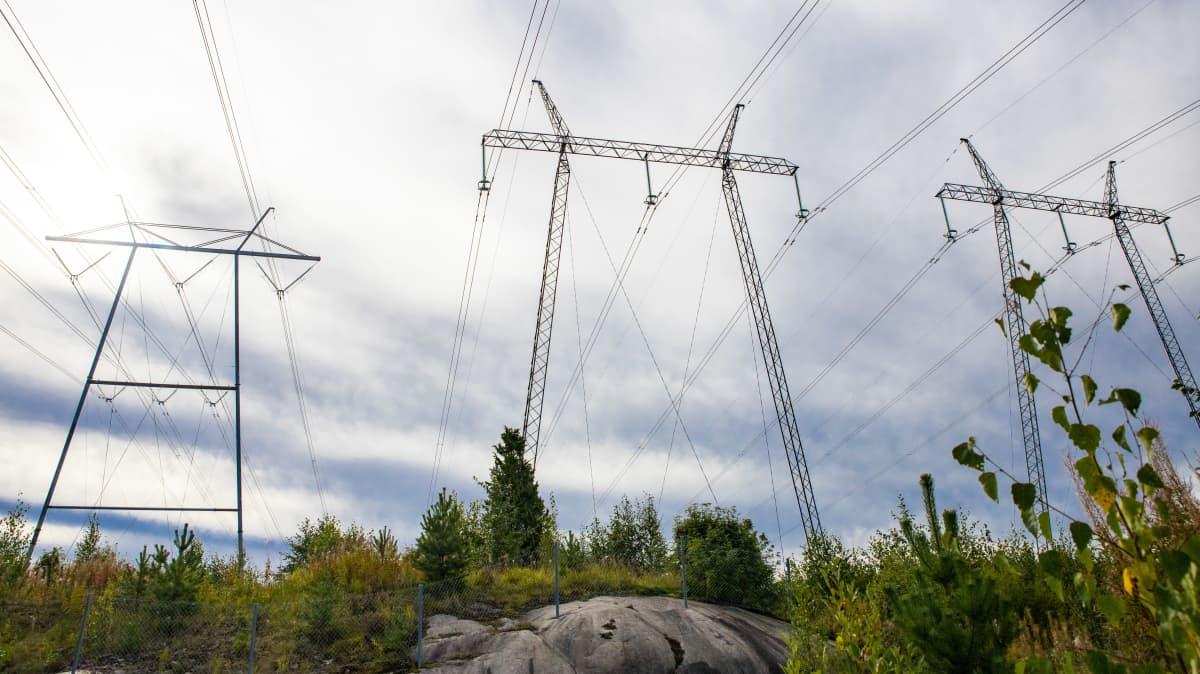 Sähkölinjoja menossa Yllikkälän sähköasemalle.