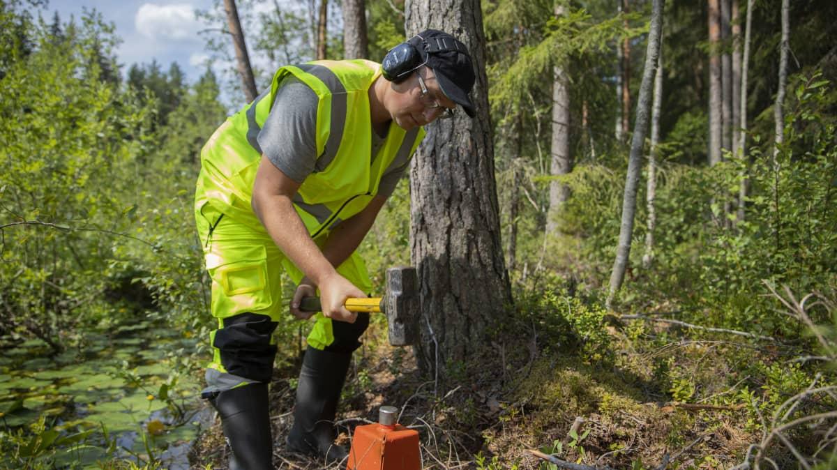 Jyrki Puupponen lyö maamerkkiä metsässä.