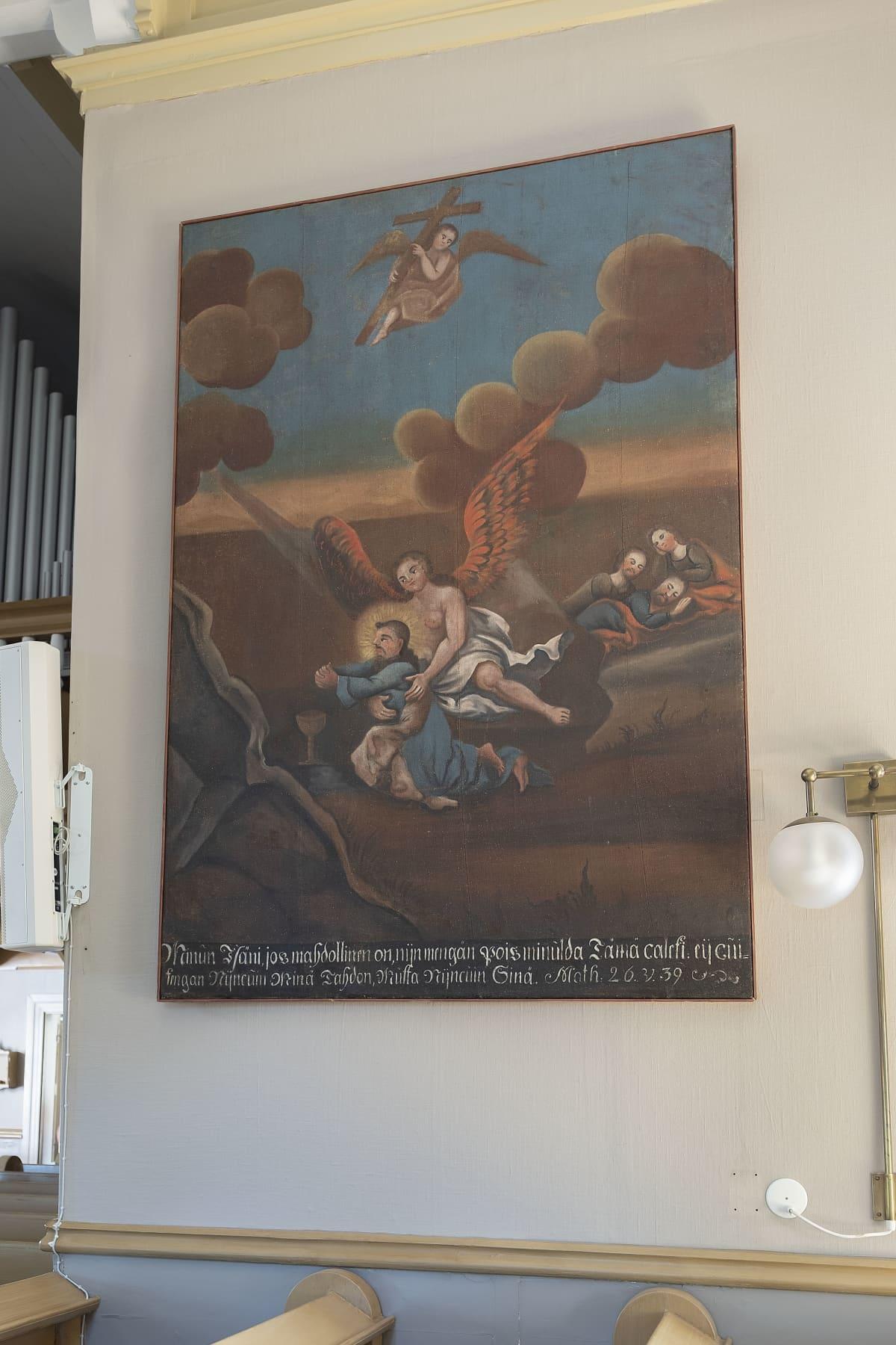 Maalaus Kustavin kirkon seinällä. Enkeleitä ja ihmisiä.