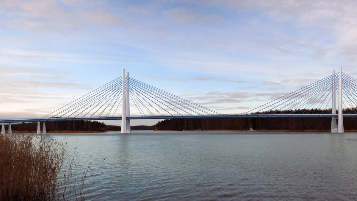 Havainnekuva uudesta Kirjalansalmen sillasta