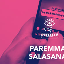 Digitreenien pääkuva. Taustalla tietokoneen näyttö, jonka posti-it-lapussa tähtiä salasanan merkkinä.