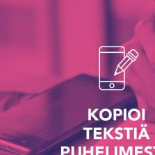 Kuvassa teksti: tekstin kopioiminen näytöltä