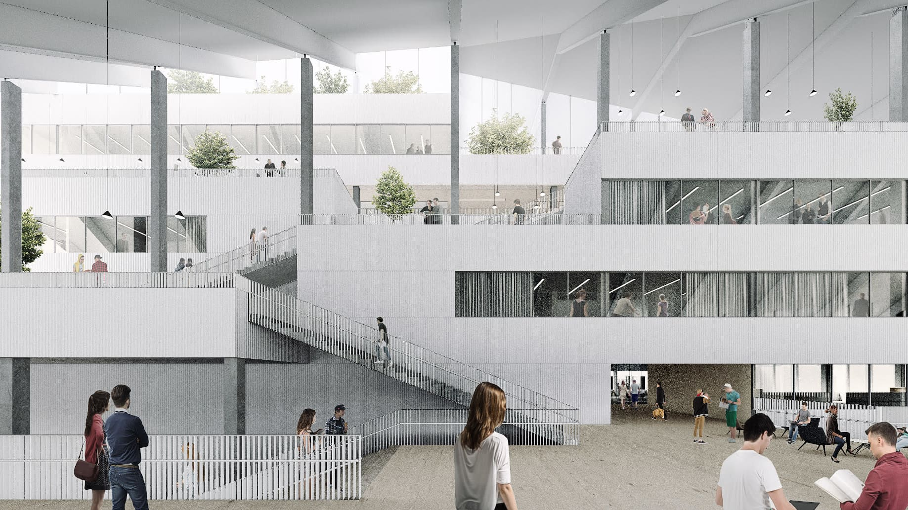 Havainnekuva uuden kampusrakennuksen aulasta.