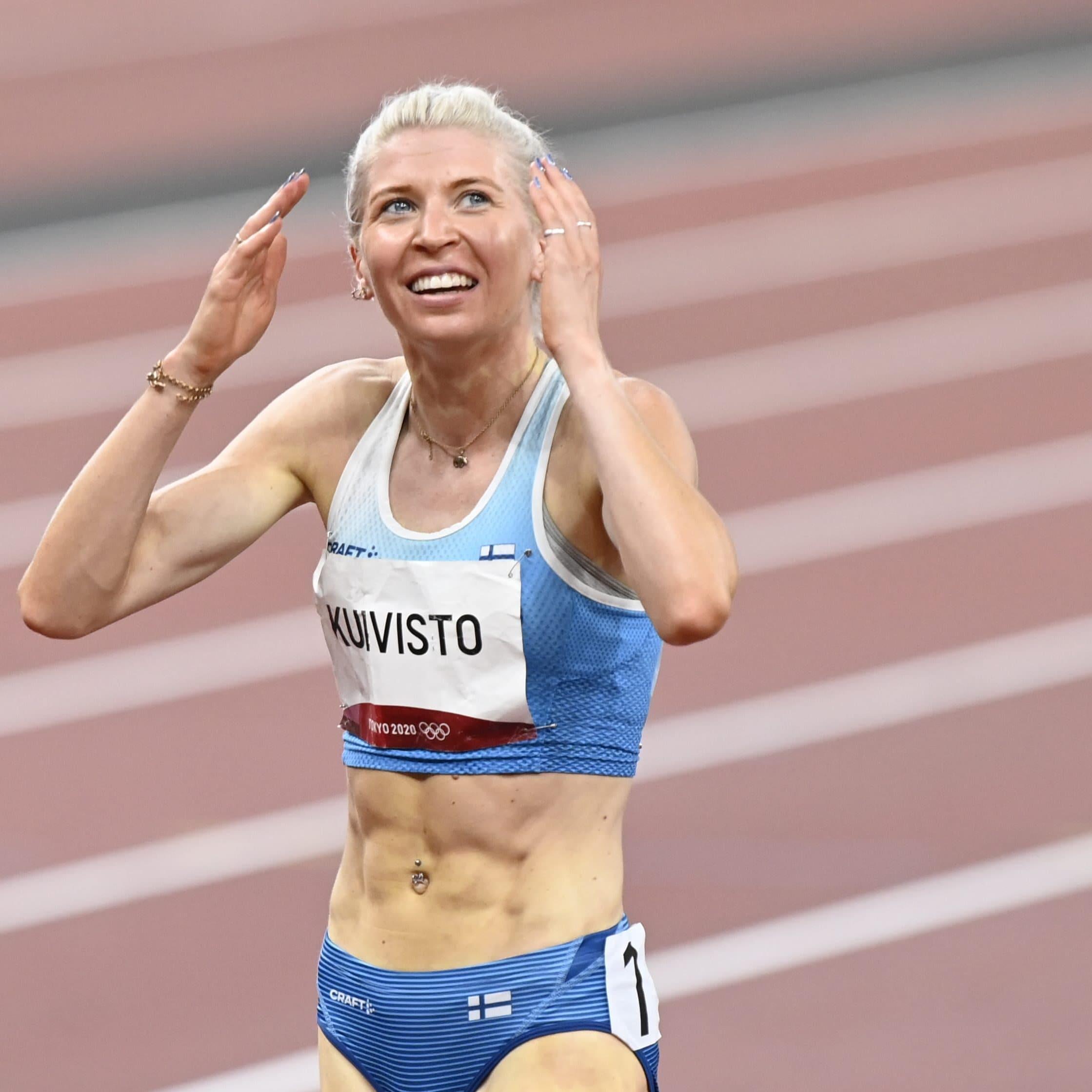 Sara Kuivisto on iloinen juoksun jälkeen