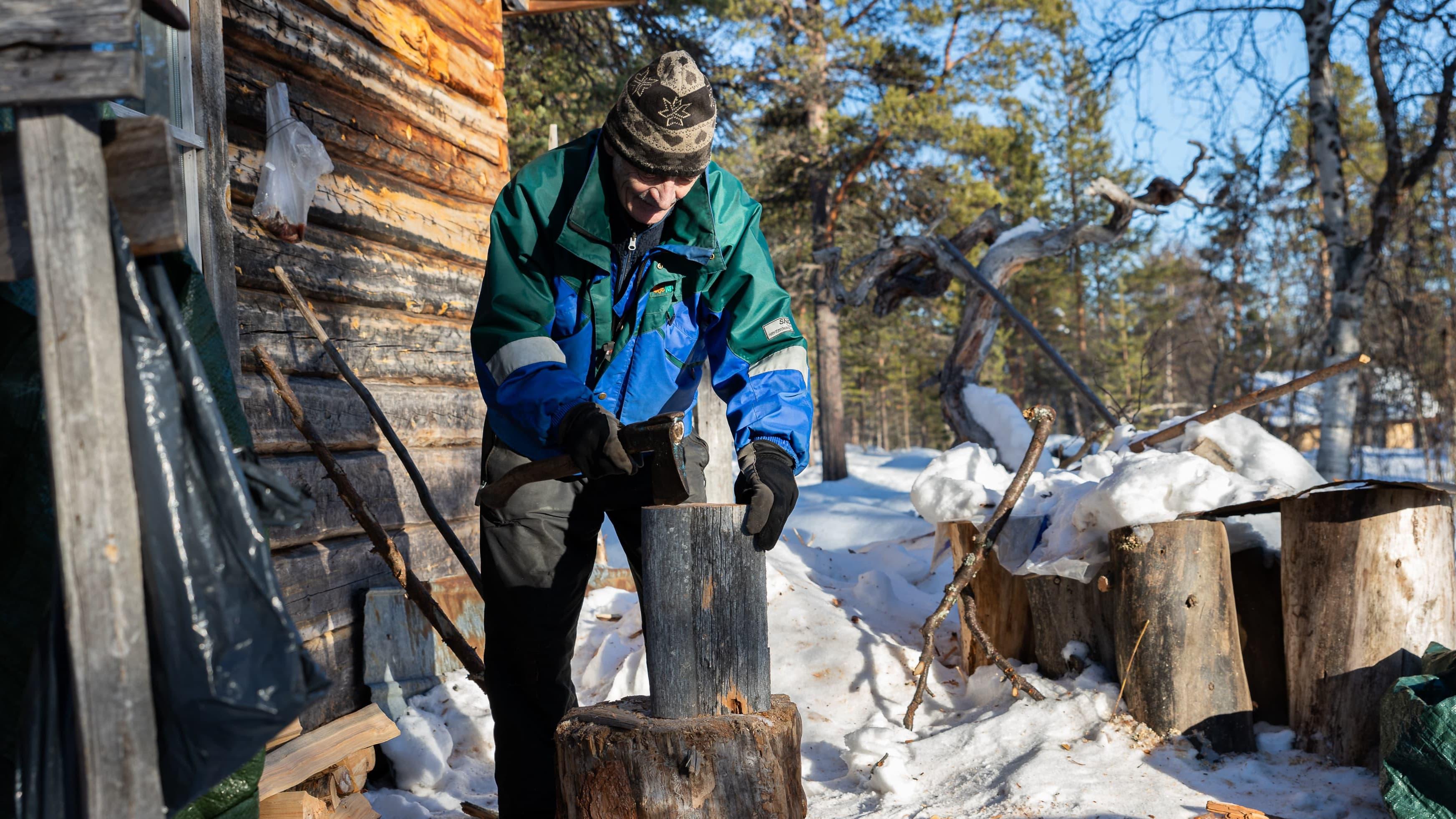 Veikko Paltto hakkaa puita