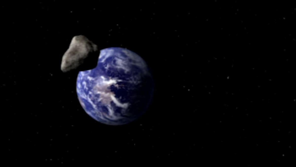 En meteorit närmar sig jorden.